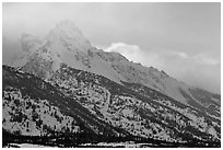 Mount Owen in winter. Grand Teton National Park ( black and white)