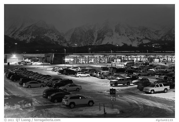 Jackson Hole airport at night. Grand Teton National Park (black and white)
