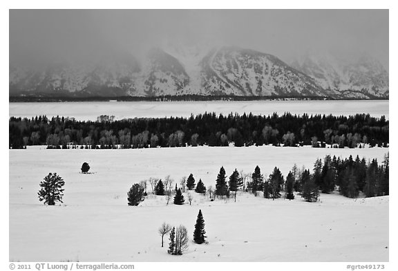 Snake River plain and Teton Range foothills in winter. Grand Teton National Park (black and white)