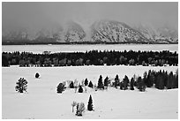 Snake River plain and Teton Range foothills in winter. Grand Teton National Park ( black and white)