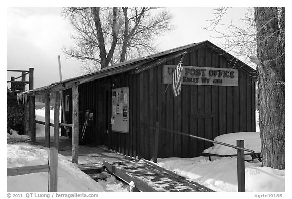 Kelly Post Office. Grand Teton National Park (black and white)