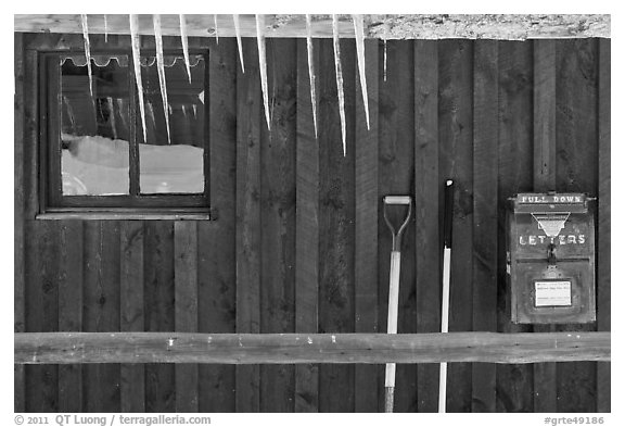 Icicles and mail box, Kelly. Grand Teton National Park (black and white)