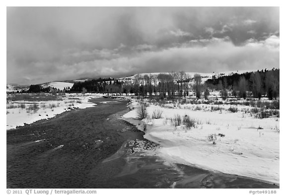 Gros Ventre River in winter. Grand Teton National Park (black and white)