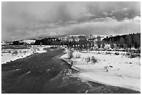 Gros Ventre River in winter. Grand Teton National Park ( black and white)
