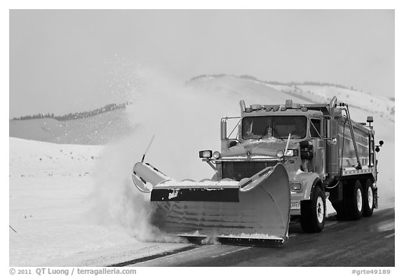 Snowplow. Grand Teton National Park (black and white)