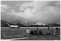 Jackson Hole Airport and cloud-capped Teton Range. Grand Teton National Park, Wyoming, USA. (black and white)