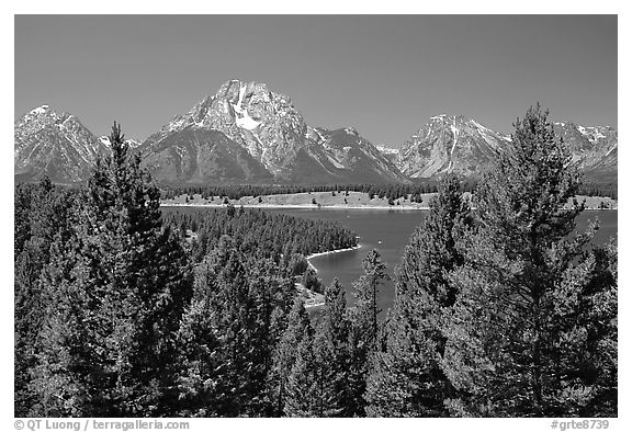 Teton range and Jackson Lake seen from Signal Mountain. Grand Teton National Park (black and white)