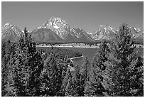 Teton range and Jackson Lake seen from Signal Mountain. Grand Teton National Park, Wyoming, USA. (black and white)