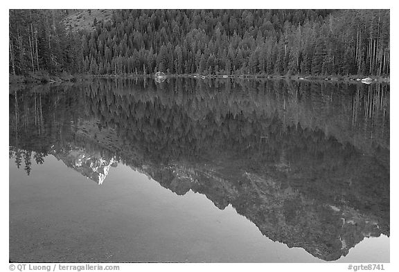 Tetons reflections in Leigh Lake, sunset. Grand Teton National Park (black and white)