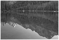 Tetons reflections in Leigh Lake, sunset. Grand Teton National Park, Wyoming, USA. (black and white)