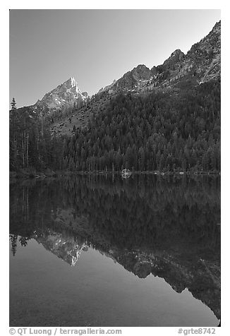 Leigh Lake with Tetons reflected, sunset. Grand Teton National Park (black and white)