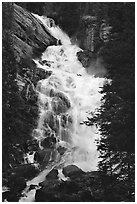 Hidden Falls. Grand Teton National Park, Wyoming, USA. (black and white)