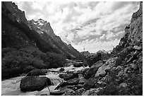 Cascade Creek flows in Cascade Canyon. Grand Teton National Park, Wyoming, USA. (black and white)