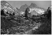 Tetons and Cascade Creek, afternoon storm. Grand Teton National Park, Wyoming, USA. (black and white)