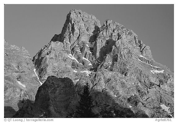 Tetons summit at sunset seen from the North. Grand Teton National Park (black and white)
