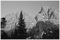 Mt Owen and Tetons at sunset seen from the North. Grand Teton National Park, Wyoming, USA. (black and white)