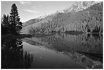 String Lake and Tetons, sunrise. Grand Teton National Park, Wyoming, USA. (black and white)