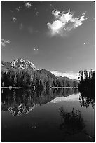 Mt Moran reflected in Leigh Lake, morning. Grand Teton National Park, Wyoming, USA. (black and white)