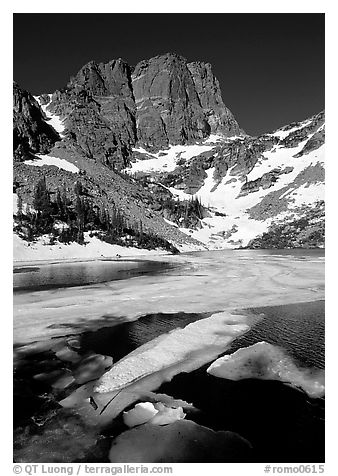 Ice break-up in Emerald Lake and Hallet Peak, early summer. Rocky Mountain National Park (black and white)