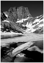 Ice break-up in Emerald Lake and Hallet Peak, early summer. Rocky Mountain National Park ( black and white)