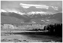 Fall color and mountain range. Colorado, USA (black and white)