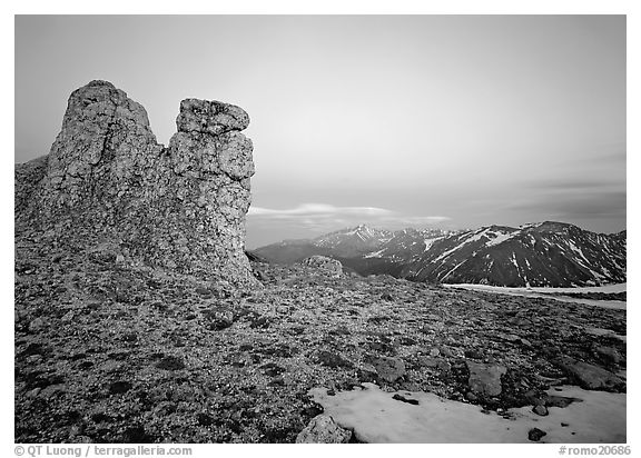 Rock near Toll Memorial at dusk. Rocky Mountain National Park (black and white)