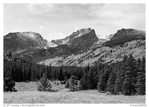 Hallett Peak and Flattop Mountain in fall. Rocky Mountain National Park (black and white)