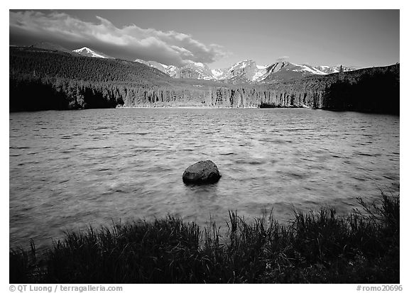 Rippled water in Sprague Lake, and snowy mountain range. Rocky Mountain National Park (black and white)