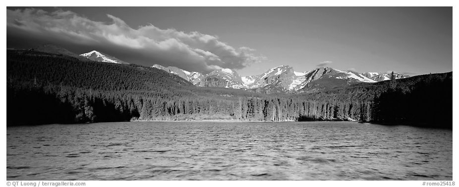 Lake with waves and mountains. Rocky Mountain National Park (black and white)