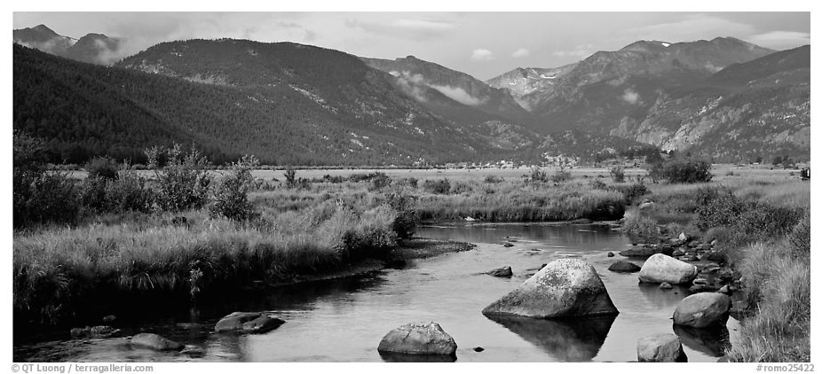 Stream and meadows in autumn. Rocky Mountain National Park (black and white)
