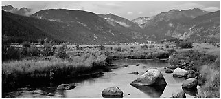 Stream and meadows in autumn. Rocky Mountain National Park (Panoramic black and white)