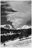 Mummy range and cloud in winter. Rocky Mountain National Park, Colorado, USA. (black and white)