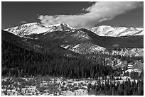 Late winter rockies landscape. Rocky Mountain National Park ( black and white)