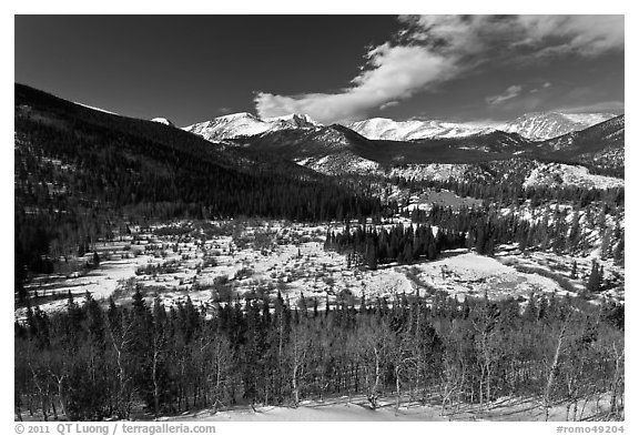 Mountain landscape in late winter. Rocky Mountain National Park (black and white)
