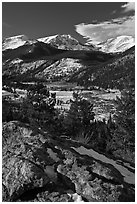 West Horseshoe Park from above, snowy peaks. Rocky Mountain National Park, Colorado, USA. (black and white)