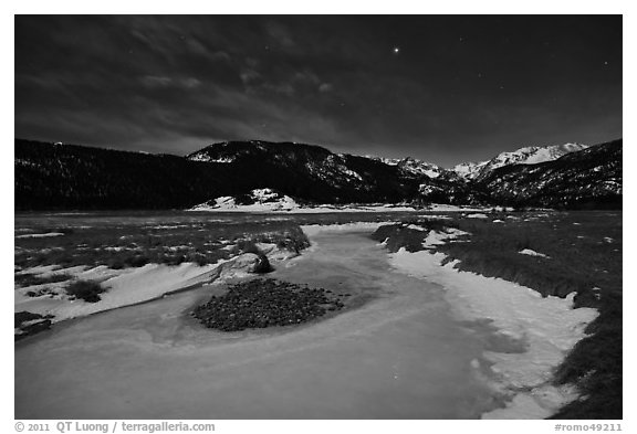 Frozen stream, Moraine Park at night. Rocky Mountain National Park (black and white)