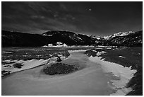 Frozen stream, Moraine Park at night. Rocky Mountain National Park ( black and white)