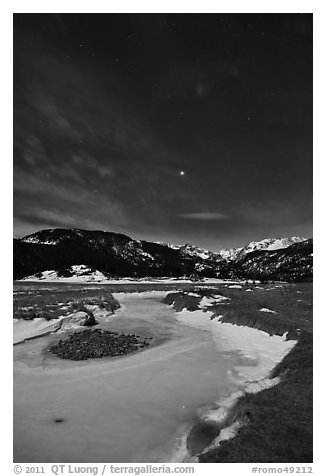 Moraine Park by moonlight. Rocky Mountain National Park (black and white)