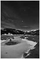 Moraine Park by moonlight. Rocky Mountain National Park, Colorado, USA. (black and white)