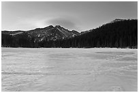 Frozen Bear Lake at sunrise. Rocky Mountain National Park, Colorado, USA. (black and white)
