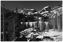 Bear Lake in winter. Rocky Mountain National Park, Colorado, USA. (black and white)