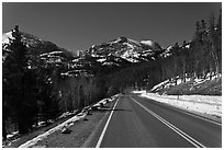 Bear Lake Road in winter. Rocky Mountain National Park, Colorado, USA. (black and white)