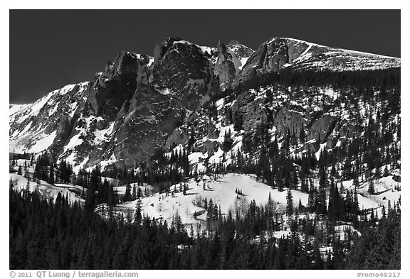 Hallet Peak in winter. Rocky Mountain National Park (black and white)