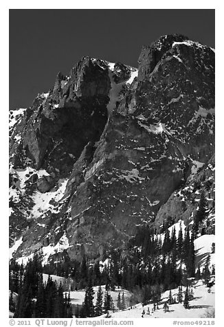 Craggy mountain in winter. Rocky Mountain National Park (black and white)