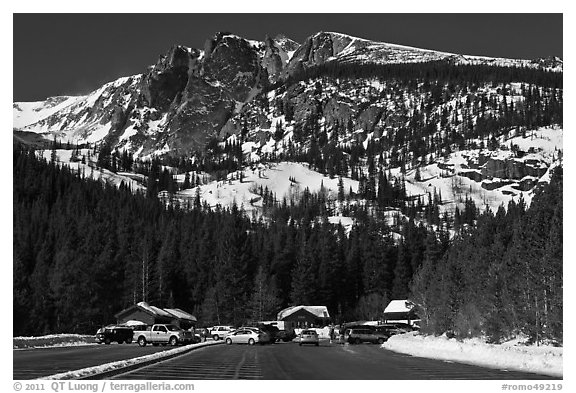 Bear Lake Road trailhead in winter. Rocky Mountain National Park (black and white)