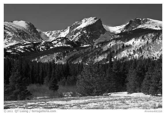 Hallet Peak and Flattop Mountain in late winter. Rocky Mountain National Park (black and white)