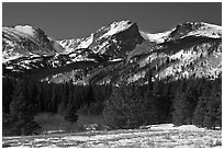 Hallet Peak and Flattop Mountain in late winter. Rocky Mountain National Park ( black and white)