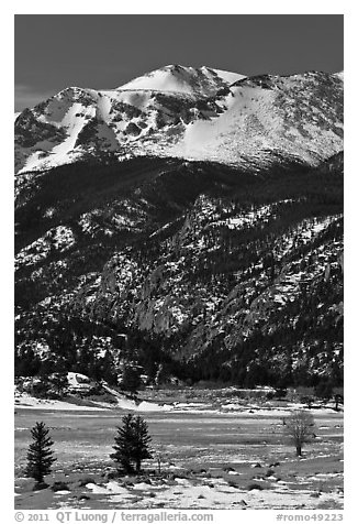 Moraine Park and Stones Peak in winter. Rocky Mountain National Park (black and white)