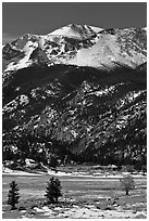 Moraine Park and Stones Peak in winter. Rocky Mountain National Park, Colorado, USA. (black and white)