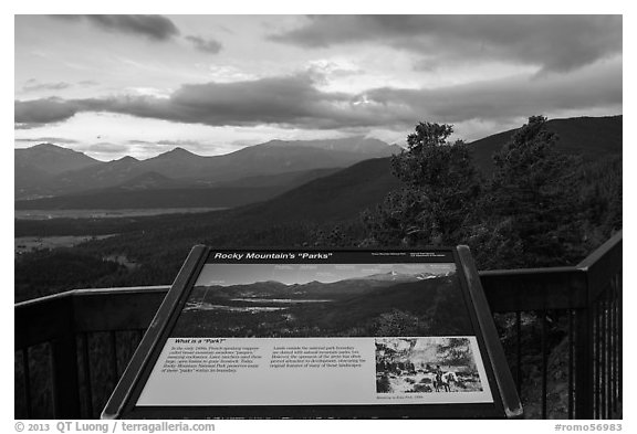 Interpretive sign, Parks. Rocky Mountain National Park (black and white)